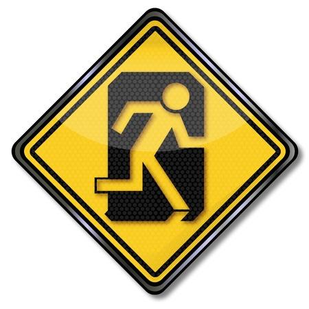 escape route: Sign man flees through a door escape route Illustration