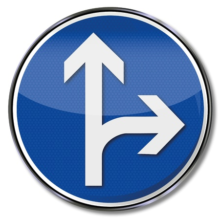 diversion: Traffic sign arrow straight and right