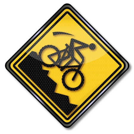 road bike: Sign hillside and mountain biking