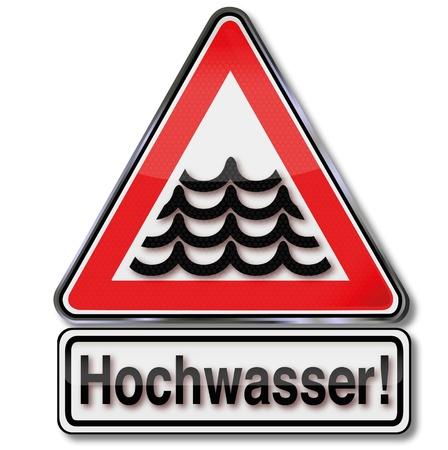 Flood warning sign Stock Vector - 20411007