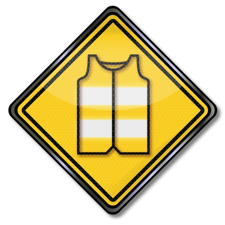 lifejacket: Sign with safety vest for motorists and car driver Illustration