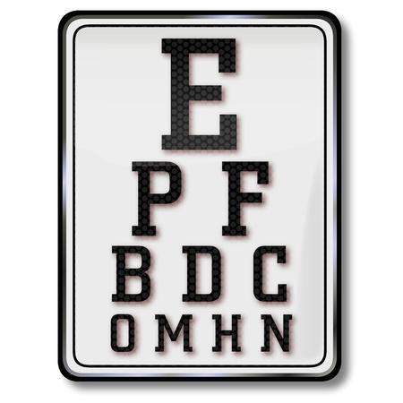 license plate: Shield eye chart and eye test