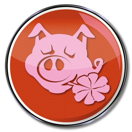 fortunately: Button lucky pig with clover in its mouth Illustration