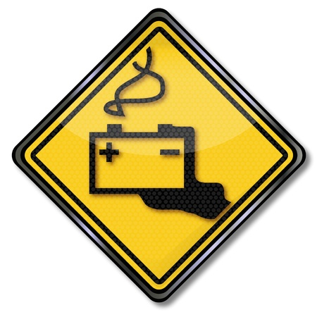 Warning sign car battery and battery acid Stock Vector - 20411055