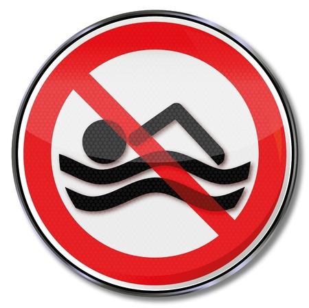 Sign warning swimming ban Stock Vector - 20458076