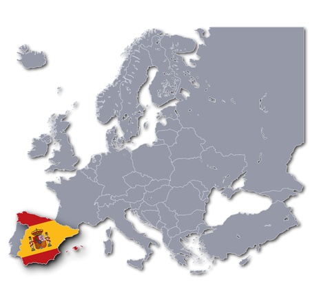 spaniards: Map of Europe with Spain