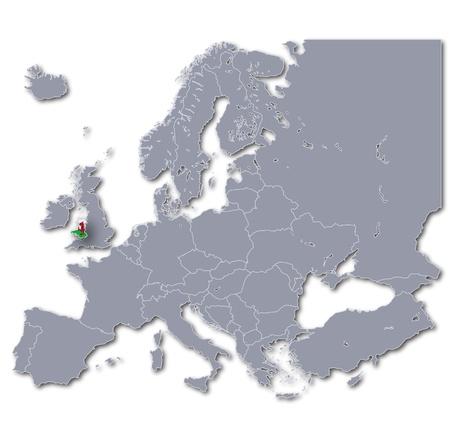 cymru: Map of Europe with Wales