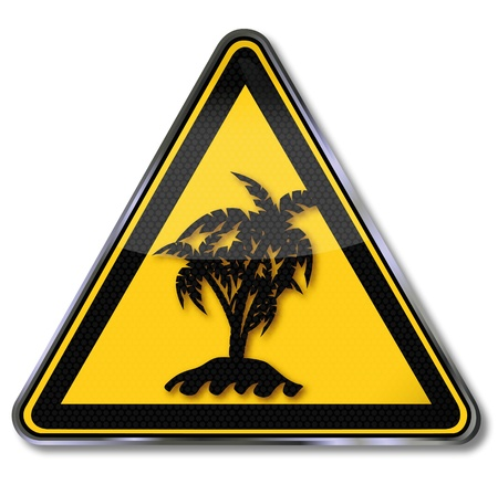 Sign solitary palm island Stock Vector - 20723509