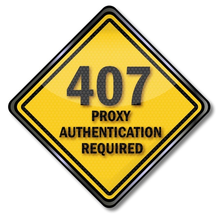 Sign 407 proxy authentication required Stock Vector - 20723166