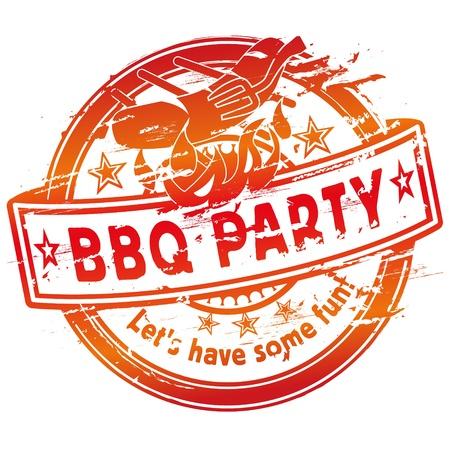 ゴム製スタンプ夏のバーベキュー パーティー グリル