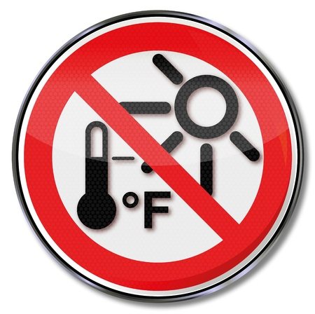 phone ban: Sign protecting beware of overheating Illustration
