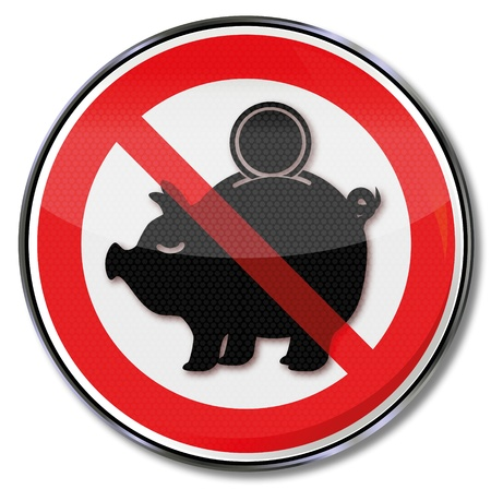 purchasing power: Sign piggy banks and low interest rates Illustration