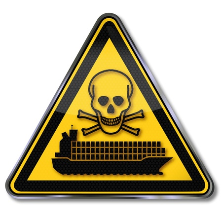 toxic accident: Sign container ship with toxic waste