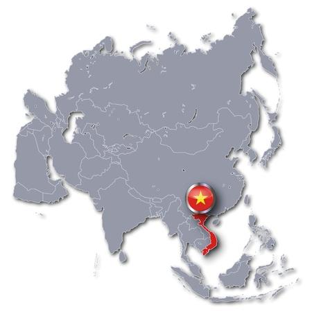 vietnam flag: Asia Map with Vietnam  Stock Photo