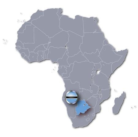 landlocked: Africa map with Botswana