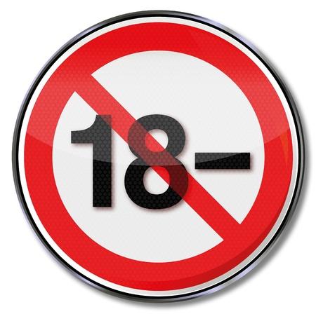 prohibido: Señal de prohibido menores de dieciocho años y de las minorías
