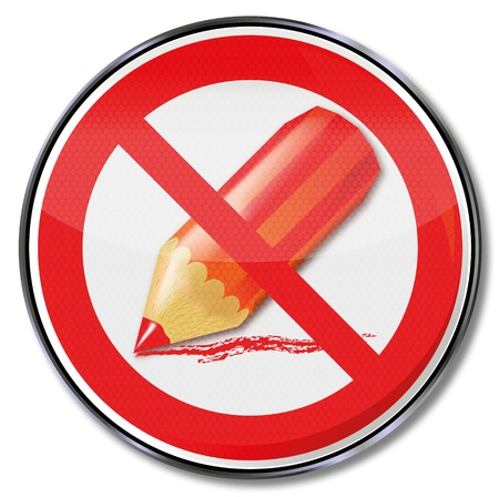 domestic policy: Sign prohibition of strokes with a red pen Illustration