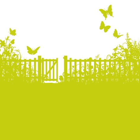 Garden fence, gate and lawn Illustration