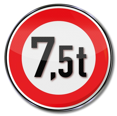 Traffic sign 7 5 tonnes maximum weight Vector