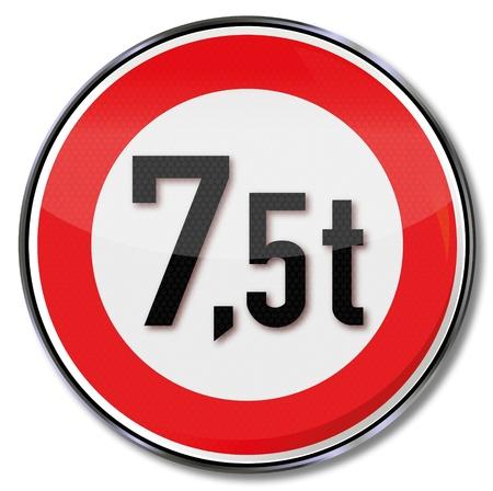 tonnes: Traffic sign 7 5 tonnes maximum weight Illustration
