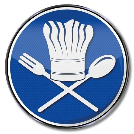 restaurateur: Sign chef, restaurateur and chefs hat