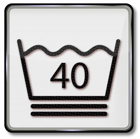 30 40: Textile care symbol washing laundry 40 degrees, be very gentle to wool and do not spin wool Illustration