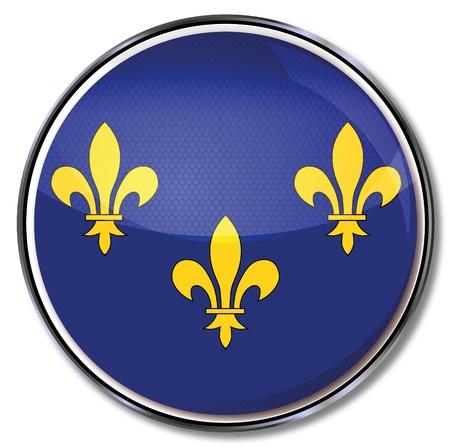ile de france: Button Ile-de-France Illustration