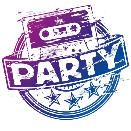 Rubber stamp music cassette and party Vector