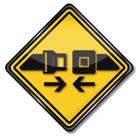 バックルに署名してくださいとあなたのシートベルトを締める  イラスト・ベクター素材