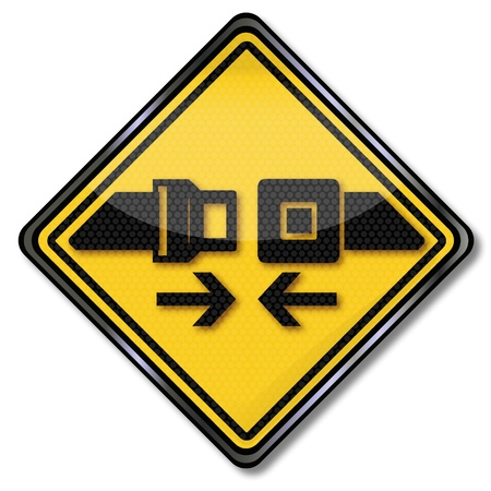 seatbelt: Sign please buckle and fasten your seatbelts Illustration