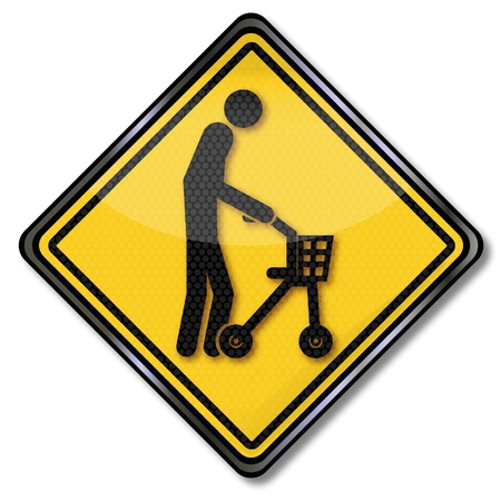 slowly: Sign old man with walker