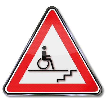 insurmountable: Sign disability wheelchair by stairs Illustration