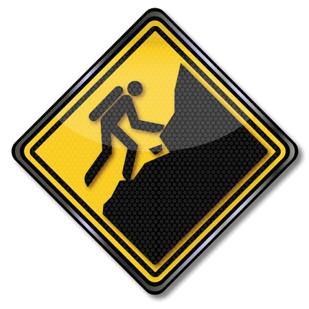 Sign climbing at the slope Vector