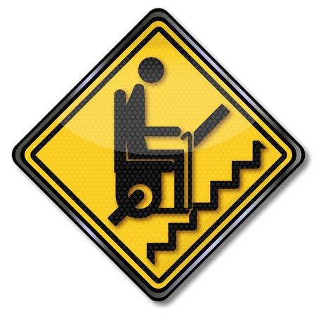 armrests: Sign stairlift for pensioners Illustration