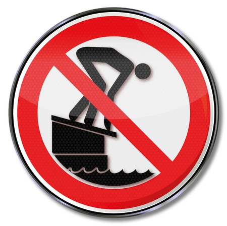 forbade: Prohibition sign please do not jump off the starting block into the pool