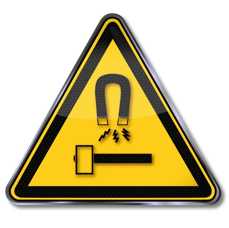 impact tool: Danger sign warning protect tools and equipment against magnets and possible sparks Illustration