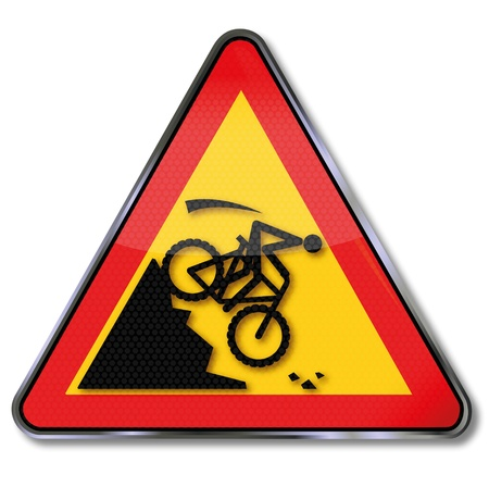 rockfall: Warning sign on the slope of a mountain bike crash Illustration