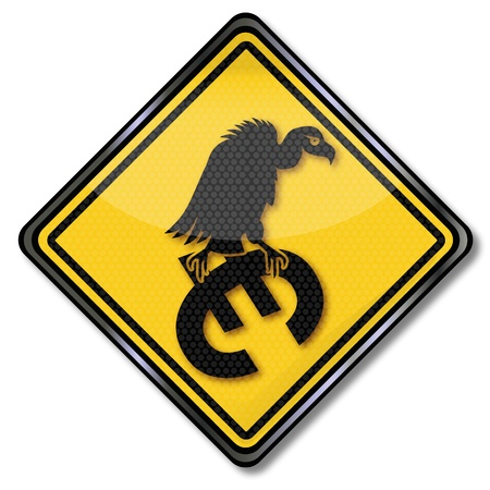 Sign euro and vultures