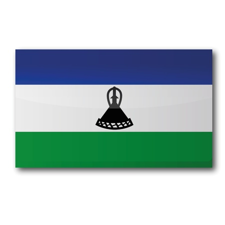 lesotho: Flag Lesotho Illustration