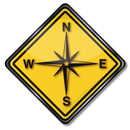 geocaching: Sign compass and compass rose