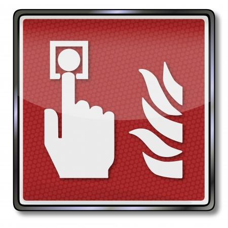 중요: 화재 안전 기호 화재 감지기와 화재 arlarm 일러스트