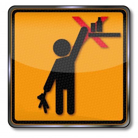 Danger warning sign Por favor mantenga fuera del alcance de los niños Foto de archivo - 22119745
