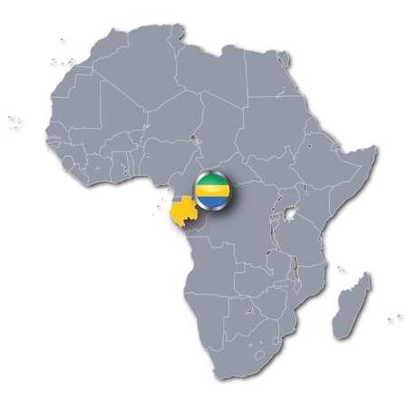 gabon: Africa map with Gabon