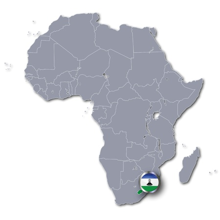 lesotho: Africa map with Lesotho