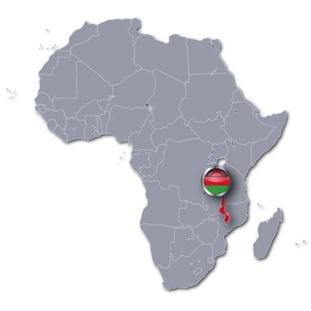 landlocked: Africa map with Malawi