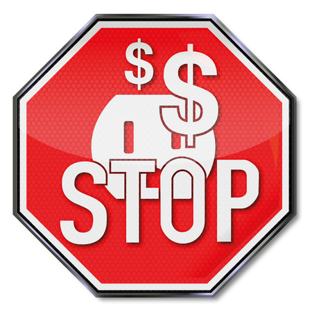 Stop sign, dollars, power, save electricity and energy policy