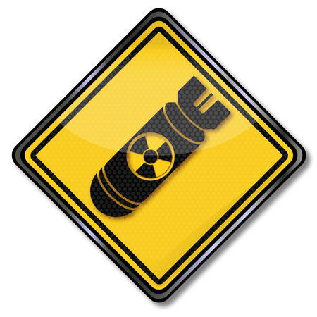 atomic bomb: Hazard symbol bomb, atomic bomb and air war Illustration