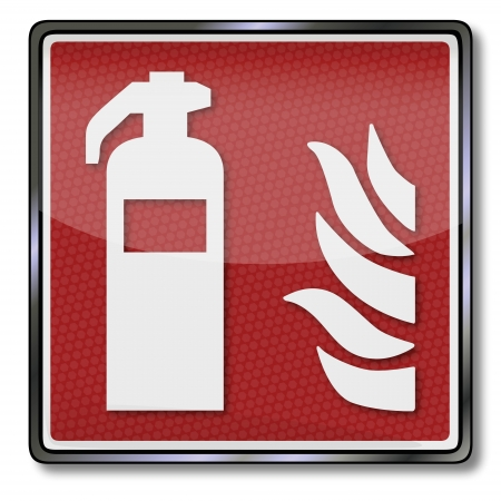 detectors: Fire safety sign fire extinguisher Illustration