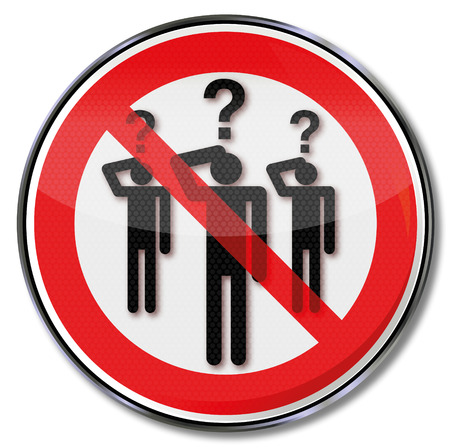 pictogram attention: Sign people with questions Illustration