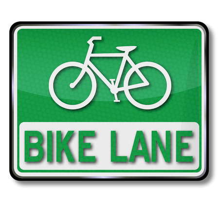 Green traffic sign bike lane Illustration